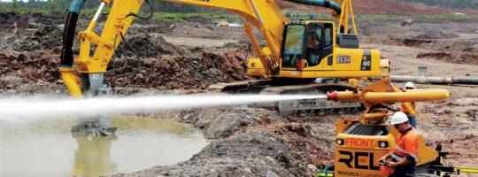 Hydromining Natural Mud Layer