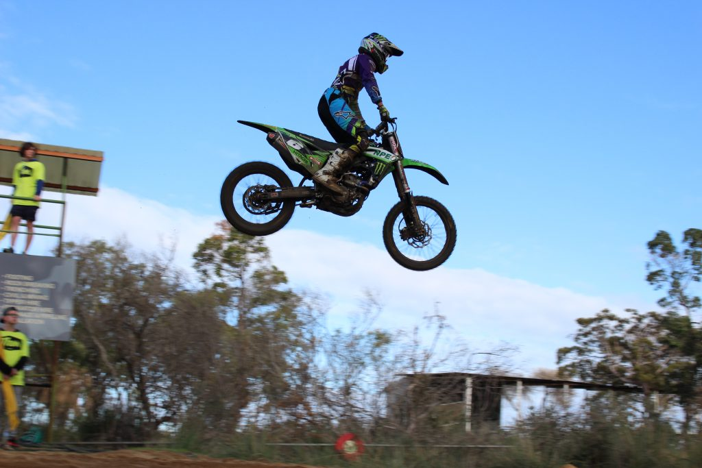 A tough day at the office for Jake Moss aboard the KX250F.
