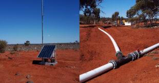 Remote borehole pumping set up in Kalgoorlie.