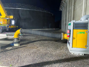 Clean pump installation at water authority facility.