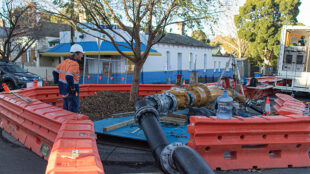 Pipeline above ground for temporary bypass.