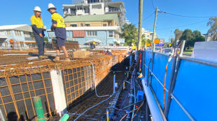 Wellpoint or spear dewatering installed at the double basement construction site in Cotton Tree, Maroochydore on the Sunshine Coast.