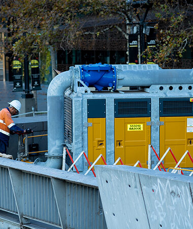 Closed canopy hire pump installed for emergency bypass pumping on the Yarra River.