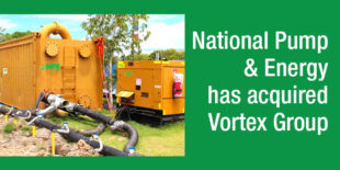 Construction site dewatering install by NPE, and text announcing acquisition of Vortex Group.
