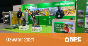 Tradeshow booth in NPE colours, mostly green, at water industry event Ozwater.