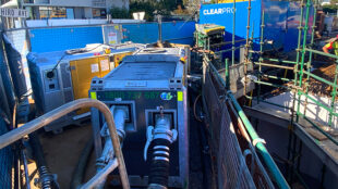 NPE pumps on site at the very packed construction site.
